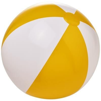 BORA SOLID BEACH BALL in Yellow-white Solid.