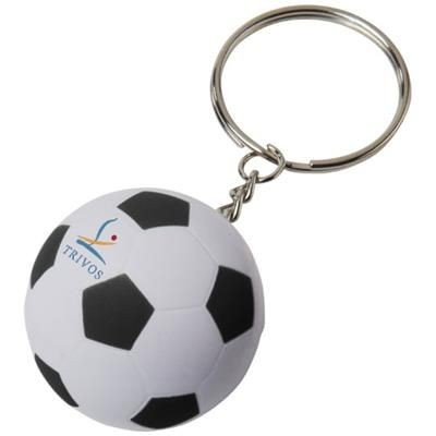 STRIKER FOOTBALL KEYRING CHAIN in White Solid-black Solid.