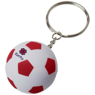 STRIKER FOOTBALL KEYRING CHAIN in White Solid-red.