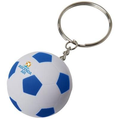 STRIKER FOOTBALL KEYRING CHAIN in White Solid-royal Blue.