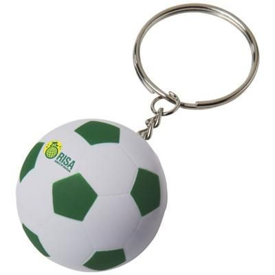 STRIKER FOOTBALL KEYRING CHAIN in White Solid-green.