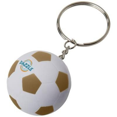 STRIKER FOOTBALL KEYRING CHAIN in White Solid-gold.