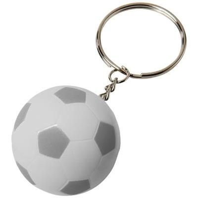 STRIKER FOOTBALL KEYRING CHAIN in White Solid-silver.
