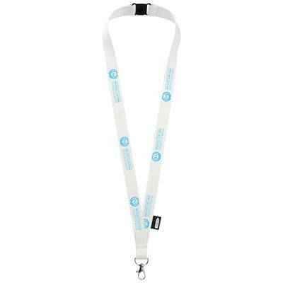 TOM RECYCLED PET LANYARD with Breakaway Closure in White.