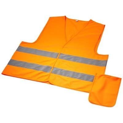 WATCH-OUT XL SAFETY VEST in Pouch for Professional Use in Neon Fluorescent Orange.