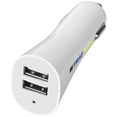 POLE DUAL CAR ADAPTER in White Solid.