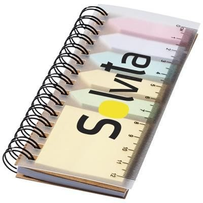 SPINNER SPIRAL NOTE BOOK with Colour Sticky Notes in Natural.