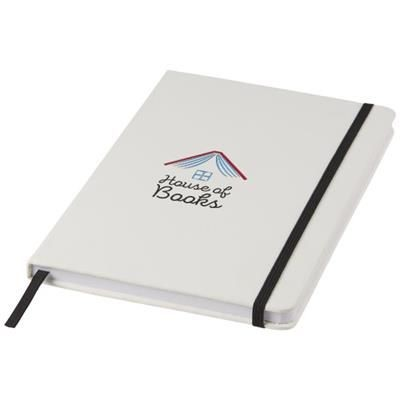 SPECTRUM A5 WHITE NOTE BOOK with Colour Strap in White Solid-black Solid.
