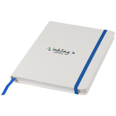 SPECTRUM A5 WHITE NOTE BOOK with Colour Strap in White Solid-royal Blue.