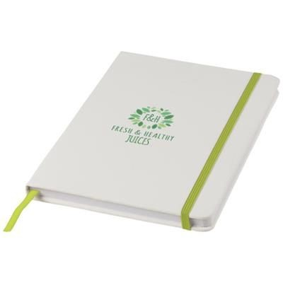 SPECTRUM A5 WHITE NOTE BOOK with Colour Strap in White Solid-lime.