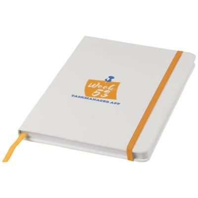 SPECTRUM A5 WHITE NOTE BOOK with Colour Strap in White Solid-orange.