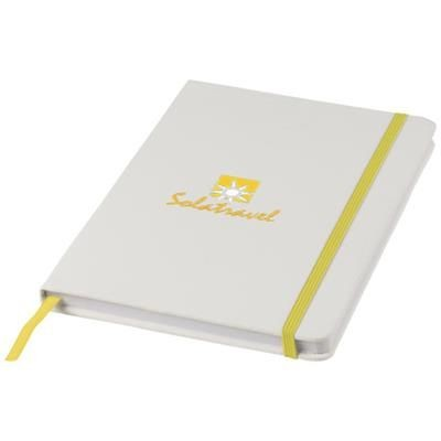SPECTRUM A5 WHITE NOTE BOOK with Colour Strap in White Solid-yellow.