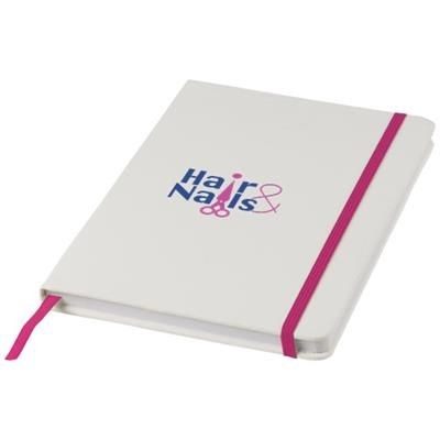 SPECTRUM A5 WHITE NOTE BOOK with Colour Strap in White Solid-pink.