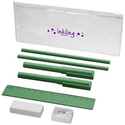 MINDY 8-PIECE PENCIL CASE SET in Green.