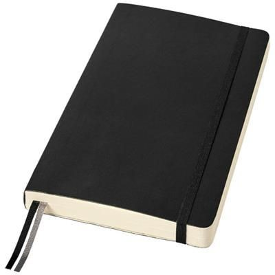 CLASSIC EXPANDED L SOFT COVER NOTE BOOK - RULED in Black Solid.