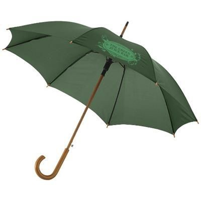 KYLE 23 AUTO OPEN UMBRELLA WOOD SHAFT AND HANDLE in Forest Green.