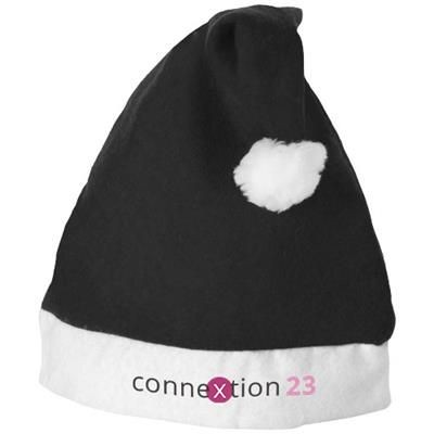 CHRISTMAS HAT in Black Solid-white Solid.