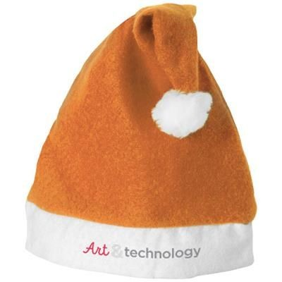 CHRISTMAS HAT in Orange-white Solid.
