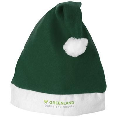 CHRISTMAS HAT in Green-white Solid.