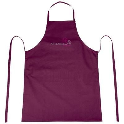 REEVA 100% COTTON APRON with Tie-back Closure in Burgundy.