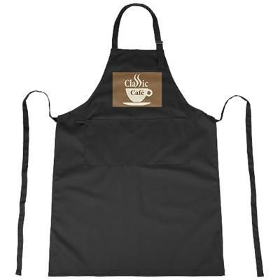 ZORA APRON with Adjustable Lanyard in Black Solid.