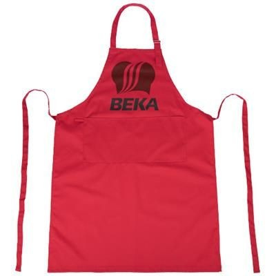ZORA APRON with Adjustable Lanyard in Red.