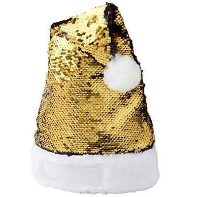 SEQUINS CHRISTMAS HAT in Gold-black Solid.