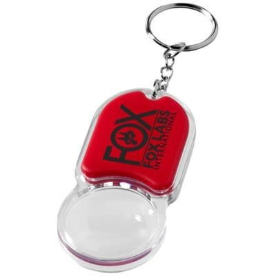 ZOOMY MAGNIFIER KEYRING CHAIN LIGHT in Red.