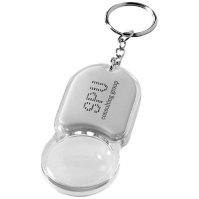 ZOOMY MAGNIFIER KEYRING CHAIN LIGHT in Silver.