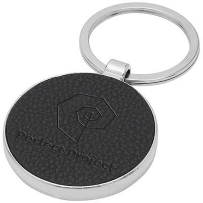PAOLO LASERABLE PU LEATHER ROUND KEYRING CHAIN in Solid Black.