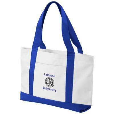 MADISON TOTE BAG in White Solid-royal Blue.