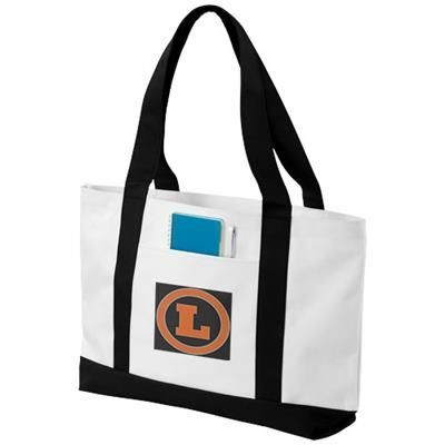 MADISON TOTE BAG in White Solid-black Solid.