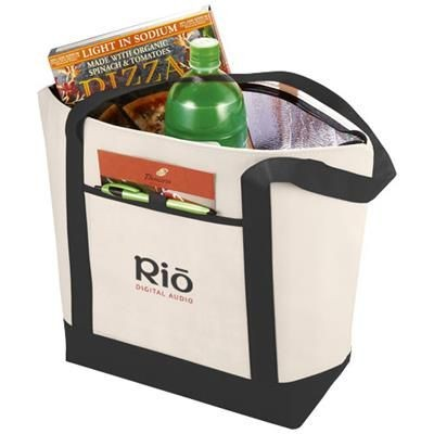LIGHTHOUSE NON-WOVEN COOLER TOTE in Natural-black Solid.