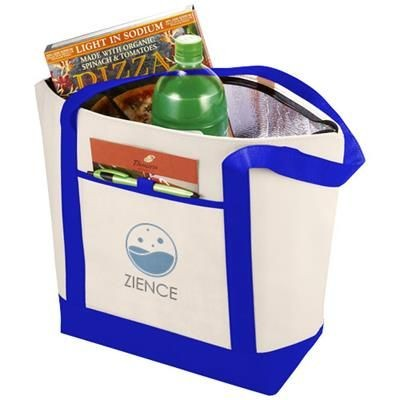 LIGHTHOUSE NON-WOVEN COOLER TOTE in Natural-royal Blue.