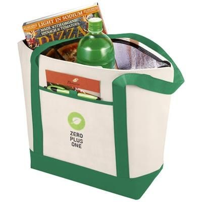 LIGHTHOUSE NON-WOVEN COOLER TOTE in Natural-green.
