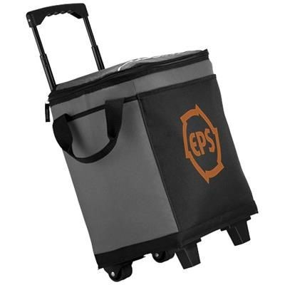 ROLLER 32-CAN COOL BAG with Wheels in Grey-black Solid.