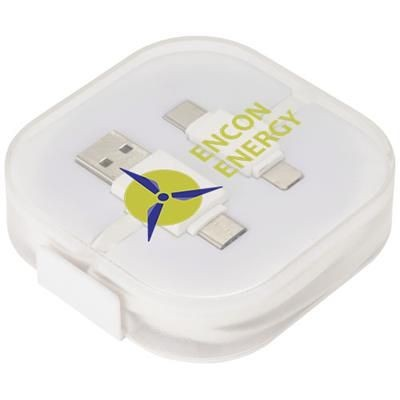 COLOUR-POP CHARGER CABLE with Case in White Solid.