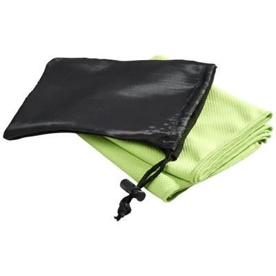 PETER COOLING TOWEL in Mesh Pouch in Lime.