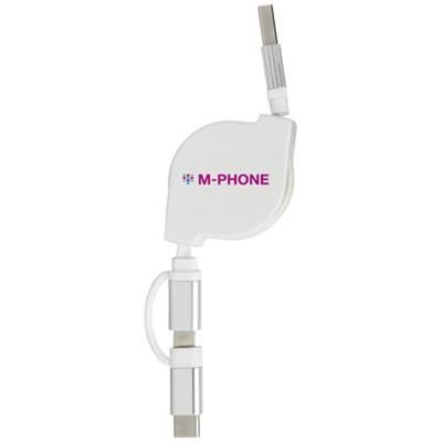 TRIPLE 3-IN-1 CHARGER CABLE in White Solid.