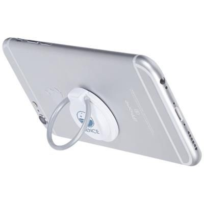 LOOP RING AND MOBILE PHONE HOLDER in White Solid.