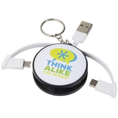 WRAP-AROUND 3-IN-1 CHARGER CABLE with Keyring Chain in Black Solid.