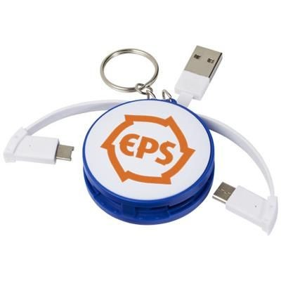 WRAP-AROUND 3-IN-1 CHARGER CABLE with Keyring Chain in Royal Blue.