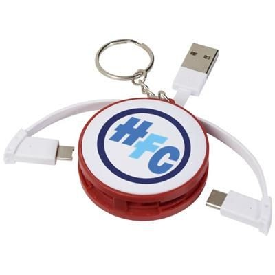 WRAP-AROUND 3-IN-1 CHARGER CABLE with Keyring Chain in Red.