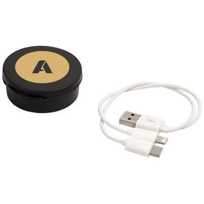VERSA 3-IN-1 CHARGER CABLE in Case in Black Solid.