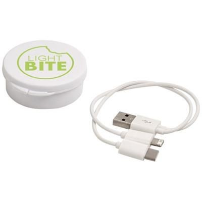 VERSA 3-IN-1 CHARGER CABLE in Case in White Solid.