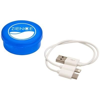 VERSA 3-IN-1 CHARGER CABLE in Case in Clear Transparent Royal Blue.