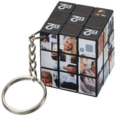 RUBIKS CUBE® KEYRING CHAIN in Black Solid.