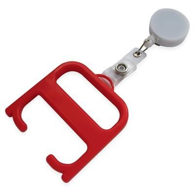 HYGIENE HANDLE with Roller Clip in Red & White Solid.