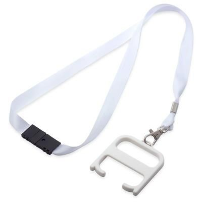 HYGIENE HANDLE with Lanyard in White Solid.