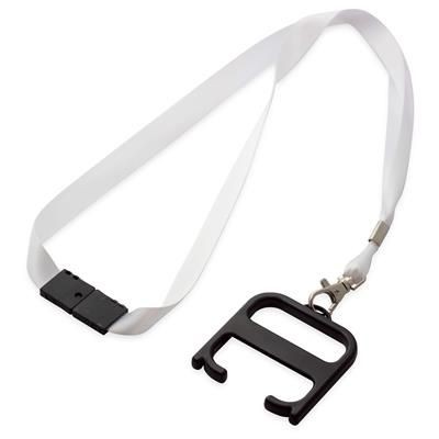 HYGIENE HANDLE with Lanyard in Black Solid & White Solid.